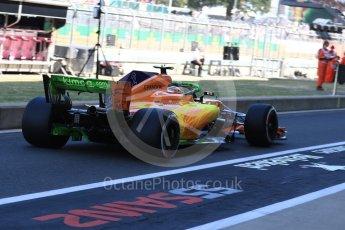 World © Octane Photographic Ltd. Formula 1 – British GP - Paddock. McLaren MCL33 – Stoffel Vandoorne. Silverstone Circuit, Towcester, UK. Saturday 7th July 2018.