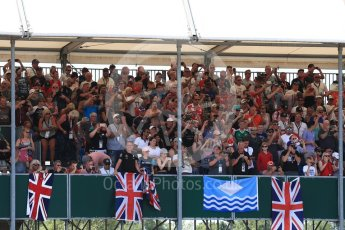 World © Octane Photographic Ltd. Formula 1 – British GP - Qualifying.  Fans in the main grandstand. Silverstone Circuit, Towcester, UK. Saturday 7th July 2018.