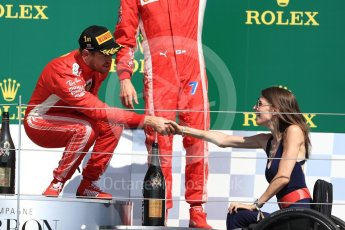 World © Octane Photographic Ltd. Formula 1 – British GP - Podium. Scuderia Ferrari SF71-H – Sebastian Vettel and Nathalie McGloin - President of the FIA Disability and Accessibility Commission. Silverstone Circuit, Towcester, UK. Sunday 8th July 2018.