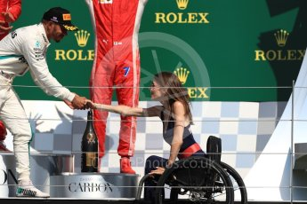 World © Octane Photographic Ltd. Formula 1 – British GP - Podium. Mercedes AMG Petronas Motorsport AMG F1 W09 EQ Power+ - Lewis Hamilton and Nathalie McGloin - President of the FIA Disability and Accessibility Commission. Silverstone Circuit, Towcester, UK. Sunday 8th July 2018.