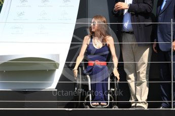 World © Octane Photographic Ltd. Formula 1 – British GP - Podium. Nathalie McGloin - President of the FIA Disability and Accessibility Commission. Silverstone Circuit, Towcester, UK. Sunday 8th July 2018.