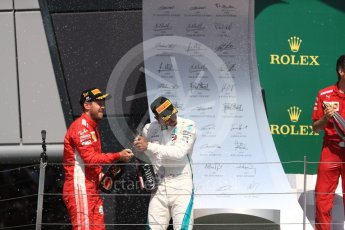 World © Octane Photographic Ltd. Formula 1 – British GP - Podium. Scuderia Ferrari SF71-H – Sebastian Vettel, Mercedes AMG Petronas Motorsport AMG F1 W09 EQ Power+ - Lewis Hamilton. Silverstone Circuit, Towcester, UK. Sunday 8th July 2018.