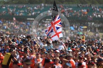 World © Octane Photographic Ltd. Formula 1 – British GP - Podium. Mercedes AMG Petronas Motorsport AMG F1 W09 EQ Power+ - Lewis Hamilton fans. Silverstone Circuit, Towcester, UK. Sunday 8th July 2018.