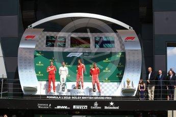 World © Octane Photographic Ltd. Formula 1 – British GP - Podium. Scuderia Ferrari SF71-H – Sebastian Vettel, Mercedes AMG Petronas Motorsport AMG F1 W09 EQ Power+ - Lewis Hamilton and Kimi Raikkonen. Silverstone Circuit, Towcester, UK. Sunday 8th July 2018.