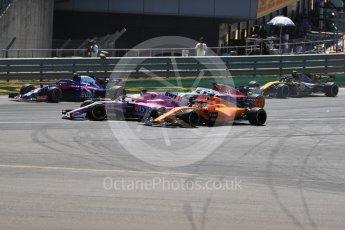 World © Octane Photographic Ltd. Formula 1 – British GP - Race. Sahara Force India VJM11 - Sergio Perez and McLaren MCL33 – Fernando Alonso. Silverstone Circuit, Towcester, UK. Sunday 8th July 2018.