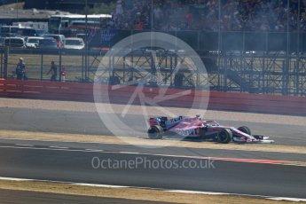 World © Octane Photographic Ltd. Formula 1 – British GP - Race. Sahara Force India VJM11 - Sergio Perez. Silverstone Circuit, Towcester, UK. Sunday 8th July 2018.