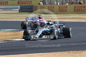 World © Octane Photographic Ltd. Formula 1 – British GP - Practice 1. Mercedes AMG Petronas Motorsport AMG F1 W09 EQ Power+ - Lewis Hamilton and Sahara Force India VJM11 - Sergio Perez. Silverstone Circuit, Towcester, UK. Friday 6th July 2018.