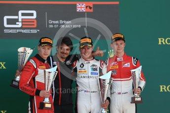 World © Octane Photographic Ltd. GP3 – British GP –   Race 1. ART Grand Prix - Anthoine Hubert, Nikita Mazepin and Callum Illot. Silverstone Circuit, Towcester, UK. Saturday 7th July 2018.