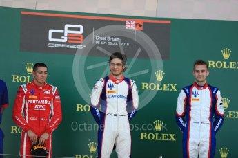 World © Octane Photographic Ltd. GP3 – British GP – Race 2. Trident - Pedro Piquet, Guiliano Alesi  and Ryan Tveter. Silverstone Circuit, Towcester, UK. Sunday 8th July 2018.