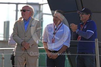 World © Octane Photographic Ltd. GP3 – British GP – Race 2. Nelson Picquet and Jean Alsei with David (Dave) Richards. Silverstone Circuit, Towcester, UK. Sunday 8th July 2018.