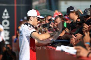 World © Octane Photographic Ltd. Formula 1 – British GP - Paddock. Alfa Romeo Sauber F1 Team C37 – Charles Leclerc. Silverstone Circuit, Towcester, UK. Sunday 8th July 2018.