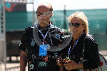 World © Octane Photographic Ltd. Formula 1 - British GP - Paddock. Jennifer Saunders and Ade Edmondson. Silverstone Circuit, Towcester, UK. Sunday 8th July 2018.