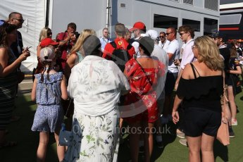 World © Octane Photographic Ltd. Formula 1 – British GP - Paddock. Scuderia Ferrari SF71-H – Sebastian Vettel with fans. Silverstone Circuit, Towcester, UK. Sunday 8th July 2018.