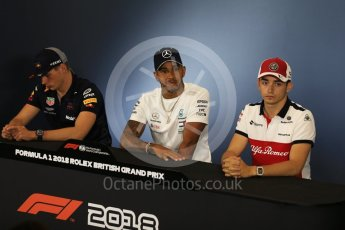 World © Octane Photographic Ltd. Formula 1 – British GP - Press Conference. Aston Martin Red Bull Racing TAG Heuer - Max Verstappen, Mercedes AMG Petronas Motorsport AMG F1 W09 EQ Power+ - Lewis Hamilton and Alfa Romeo Sauber F1 Team – Charles Leclerc. Silverstone Circuit, Towcester, UK. Thursday 5th July 2018.