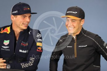 World © Octane Photographic Ltd. Formula 1 – Canadian GP - Thursday Driver Press Conference. Aston Martin Red Bull Racing TAG Heuer - Max Verstappen and McLaren – Stoffel Vandoorne. Circuit Gilles Villeneuve, Montreal, Canada. Thursday 7th June 2018.