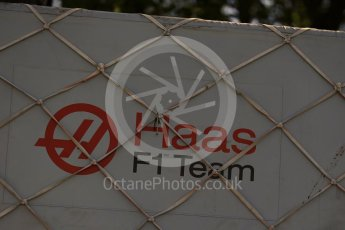 World © Octane Photographic Ltd. Formula 1 – Canadian GP - Practice 1. Haas logo. Circuit Gilles Villeneuve, Montreal, Canada. Friday 8th June 2018.