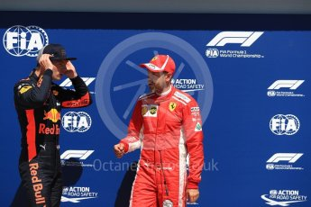 World © Octane Photographic Ltd. Formula 1 – Canadian GP - Qualifying. Aston Martin Red Bull Racing TAG Heuer RB14 – Max Verstappen and Scuderia Ferrari SF71-H – Sebastian Vettel. Circuit Gilles Villeneuve, Montreal, Canada. Saturday 9th June 2018.