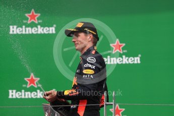 World © Octane Photographic Ltd. Formula 1 – Canadian GP - Race Podium. Aston Martin Red Bull Racing TAG Heuer RB14 – Max Verstappen. Circuit Gilles Villeneuve, Montreal, Canada. Sunday 10th June 2018.