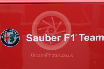 World © Octane Photographic Ltd. Formula 1 – Winter Test 1. Alfa Romeo Sauber F1 Team logo. Circuit de Barcelona-Catalunya, Spain. Monday 26th February 2018.