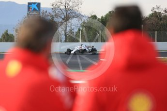 World © Octane Photographic Ltd. Formula 1 – Winter Test 2. Williams Martini Racing FW41 – Robert Kubica being watched by Ferarri. Circuit de Barcelona-Catalunya, Spain. Thursday 8th March 2018.