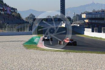 World © Octane Photographic Ltd. Formula 1 – Winter Test 2. Haas F1 Team VF-18 – Romain Grosjean and Scuderia Ferrari SF71-H – Kimi Raikkonen. Circuit de Barcelona-Catalunya, Spain. Friday 9th March 2018.