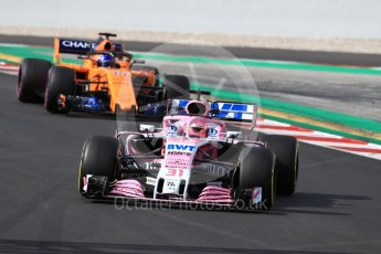 World © Octane Photographic Ltd. Formula 1 – Winter Test 2. Sahara Force India VJM11 - Esteban Ocon and McLaren MCL33 – Fernando Alonso. Circuit de Barcelona-Catalunya, Spain. Friday 9th March 2018.