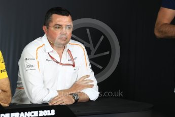 World © Octane Photographic Ltd. Formula 1 - French GP - Friday FIA Team Press Conference. Eric Boullier - Racing Director of McLaren. Circuit Paul Ricard, Le Castellet, France. Friday 22nd June 2018.