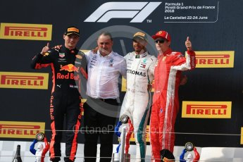 World © Octane Photographic Ltd. Formula 1 – French GP - Race Podium. Mercedes AMG Petronas Motorsport AMG F1 W09 EQ Power+ - Lewis Hamilton, Aston Martin Red Bull Racing TAG Heuer RB14 – Max Verstappen, Scuderia Ferrari SF71-H – Kimi Raikkonen and Ron Meadows - Mercedes AMG F1 Team Manager. Circuit Paul Ricard, Le Castellet, France. Sunday 24th June 2018.