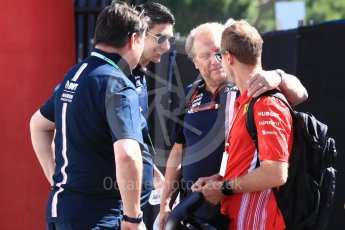 World © Octane Photographic Ltd. Formula 1 – French GP - Paddock. Scuderia Ferrari - Sebastian Vettel, Robert Fernley and Sahara Force India - Esteban Ocon. Circuit Paul Ricard, Le Castellet, France. Friday 22nd June 2018.
