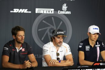 World © Octane Photographic Ltd. Formula 1 – French GP - Thursday Driver Press Conference. Sahara Force India - Esteban Ocon, McLaren – Fernando Alonso and Haas F1 Team – Romain Grosjean. Circuit Paul Ricard, Le Castellet, France. Thursday 21st June 2018.