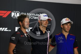 World © Octane Photographic Ltd. Formula 1 – French GP - Thursday Driver Press Conference. Scuderia Toro Rosso – Pierre Gasly, Sahara Force India - Esteban Ocon and Haas F1 Team – Romain Grosjean. Circuit Paul Ricard, Le Castellet, France. Thursday 21st June 2018.