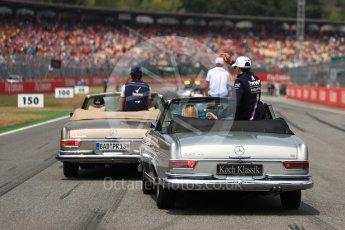 World © Octane Photographic Ltd. Formula 1 – German GP - Drivers' Parade. Williams Martini Racing FW41 – Lance Stroll and Sahara Force India VJM11 - Esteban Ocon. Hockenheimring, Baden-Wurttemberg, Germany. Sunday 22nd July 2018.