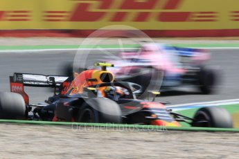 World © Octane Photographic Ltd. Formula 1 – German GP - Practice 1. Aston Martin Red Bull Racing TAG Heuer RB14 – Max Verstappen and Sahara Force India VJM11 - Sergio Perez. Hockenheimring, Baden-Wurttemberg, Germany. Friday 20th July 2018.