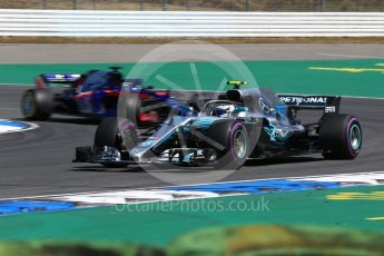 World © Octane Photographic Ltd. Formula 1 – German GP - Practice 1. Mercedes AMG Petronas Motorsport AMG F1 W09 EQ Power+ - Valtteri Bottas and Scuderia Toro Rosso STR13 – Brendon Hartley. Hockenheimring, Baden-Wurttemberg, Germany. Friday 20th July 2018.