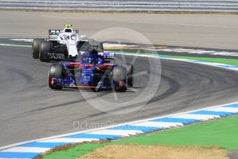 World © Octane Photographic Ltd. Formula 1 – German GP - Practice 2. Scuderia Toro Rosso STR13 – Brendon Hartley and Williams Martini Racing FW41 – Sergey Sirotkin. Hockenheimring, Baden-Wurttemberg, Germany. Friday 20th July 2018.