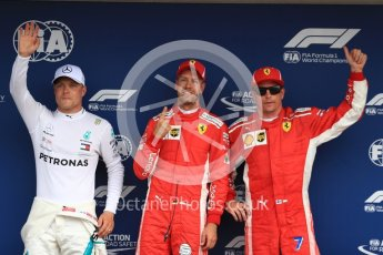 World © Octane Photographic Ltd. Formula 1 – German GP - Qualifying. Scuderia Ferrari SF71-H – Sebastian Vettel (Pole) and Kimi Raikkonen (3rd) with Mercedes AMG Petronas Motorsport AMG F1 W09 EQ Power+ - Valtteri Bottas (2nd). Hockenheimring, Baden-Wurttemberg, Germany. Saturday 21st July 2018.