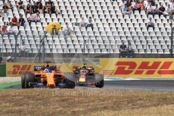 World © Octane Photographic Ltd. Formula 1 – German GP - Race. McLaren MCL33 – Fernando Alonso and Aston Martin Red Bull Racing TAG Heuer RB14 – Daniel Ricciardo. Hockenheimring, Baden-Wurttemberg, Germany. Sunday 22nd July 2018.