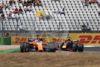 World © Octane Photographic Ltd. Formula 1 – German GP - Race. McLaren MCL33 – Fernando Alonso and Aston Martin Red Bull Racing TAG Heuer RB14 – Daniel Ricciardo. Hockenheimring, Baden-Wurttemberg, Germany. Sunday 22nd July 2018.
