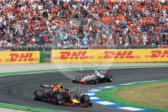 World © Octane Photographic Ltd. Formula 1 – German GP - Race. Aston Martin Red Bull Racing TAG Heuer RB14 – Max Verstappen and Haas F1 Team VF-18 – Kevin Magnussen. . Hockenheimring, Baden-Wurttemberg, Germany. Sunday 22nd July 2018.