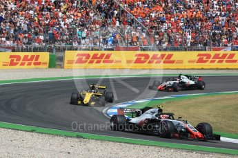 orld © Octane Photographic Ltd. Formula 1 – German GP - Race. Haas F1 Team VF-18 – Kevin Magnussen, Renault Sport F1 Team RS18 – Nico Hulkenberg and Romain Grosjean. Hockenheimring, Baden-Wurttemberg, Germany. Sunday 22nd July 2018.