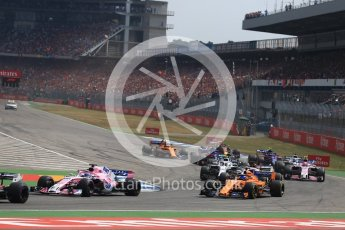 World © Octane Photographic Ltd. Formula 1 – German GP - Race. Sahara Force India VJM11 - Sergio Perez and McLaren MCL33 – Fernando Alonso. . Hockenheimring, Baden-Wurttemberg, Germany. Sunday 22nd July 2018.