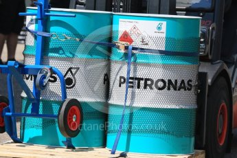 World © Octane Photographic Ltd. Formula 1 – German GP - Paddock. Mercedes AMG Petronas Motorsport AMG F1 W09 EQ Power+ - Petronas Primax 1736J fuel drums. Hockenheimring, Baden-Wurttemberg, Germany. Thursday 19th July 2018.
