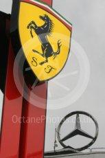 World © Octane Photographic Ltd. Formula 1 – German GP - Paddock. Scuderia Ferrari and Mercedes logos. Hockenheimring, Baden-Wurttemberg, Germany. Saturday 21st July 2018.