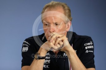 World © Octane Photographic Ltd. Formula 1 - British GP - Friday FIA Team Press Conference. Andy Green - Technical Director at Sahara Force India. Hockenheimring, Baden-Wurttemberg, Germany. Thursday 19th July 2018.