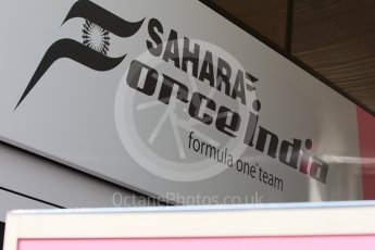 World © Octane Photographic Ltd. Formula 1 – Hungarian GP - Paddock. Sahara Force India VJM11. Hungaroring, Budapest, Hungary. Saturday 28th July 2018.