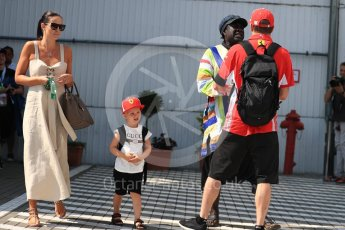 World © Octane Photographic Ltd. Formula 1 – Hungarian GP - Paddock. Scuderia Ferrari SF71-H – Kimi Raikkonen with wife Mintu Virtanen and son Robin Raikkonen. Hungaroring, Budapest, Hungary. Saturday 28th July 2018.