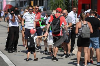 World © Octane Photographic Ltd. Formula 1 – Hungarian GP - Paddock. Scuderia Ferrari SF71-H – Kimi Raikkonen with son Robin Raikkonen. Hungaroring, Budapest, Hungary. Saturday 28th July 2018.
