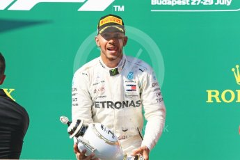 World © Octane Photographic Ltd. Formula 1 – Hungarian GP - Podium. Mercedes AMG Petronas Motorsport AMG F1 W09 EQ Power+ - Lewis Hamilton. Hungaroring, Budapest, Hungary. Sunday 29th July 2018.