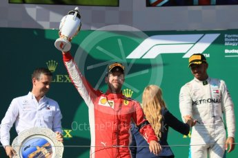 World © Octane Photographic Ltd. Formula 1 – Hungarian GP - Podium. Scuderia Ferrari SF71-H – Sebastian Vettel and Mercedes AMG Petronas Motorsport AMG F1 W09 EQ Power+ - Lewis Hamilton. Hungaroring, Budapest, Hungary. Sunday 29th July 2018.