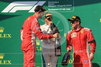 World © Octane Photographic Ltd. Formula 1 – Hungarian GP - Podium. Mercedes AMG Petronas Motorsport AMG F1 W09 EQ Power+ - Lewis Hamilton and Scuderia Ferrari SF71-H – Sebastian Vettel and Kimi Raikkonen. Hungaroring, Budapest, Hungary. Sunday 29th July 2018.